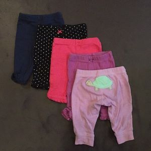 Bundle of 5 Carter's NB Leggings